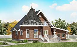 220-002-L Two Story House Plans and mansard with garage in front, classic Ranch,