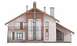 270-003-L Two Story House Plans with mansard roof with garage in front, a huge Villa Plan,