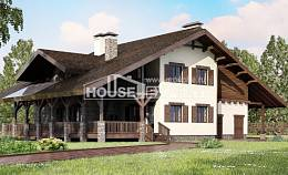 320-001-R Two Story House Plans and mansard with garage in back, beautiful Architect Plans,