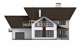 300-002-R Two Story House Plans with mansard with garage, modern Woodhouses Plans,