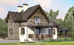 160-002-L Two Story House Plans with mansard with garage, cozy House Building,