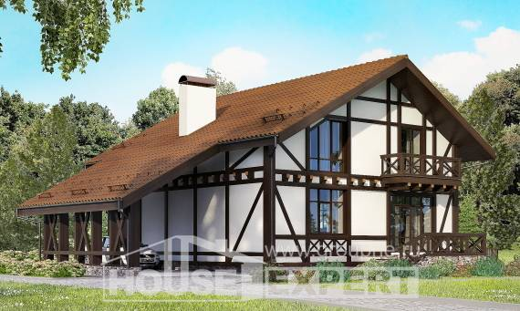 155-002-R Two Story House Plans with mansard roof and garage, modern Planning And Design,