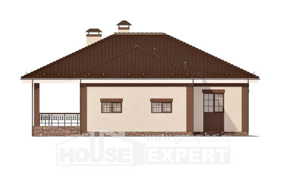 160-015-R One Story House Plans with garage under, economical Home Blueprints,