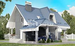 125-002-L Two Story House Plans with mansard roof with garage in back, compact Timber Frame Houses Plans,