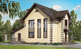 160-004-R Two Story House Plans with mansard roof with garage in back, small Models Plans,