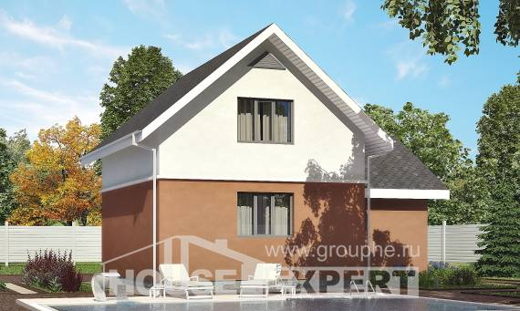 120-002-L Two Story House Plans with mansard roof with garage, modern Timber Frame Houses Plans,