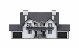 290-003-R Two Story House Plans with mansard roof with garage in back, best house Floor Plan, House Expert