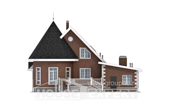 220-002-L Two Story House Plans with mansard roof with garage in back, classic Floor Plan,
