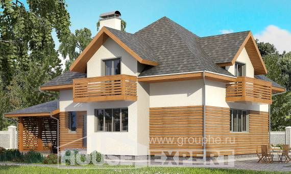 155-004-R Two Story House Plans with mansard roof and garage, beautiful Plans Free,