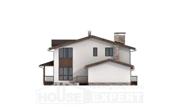 220-001-R Two Story House Plans and mansard with garage, modern House Plans,