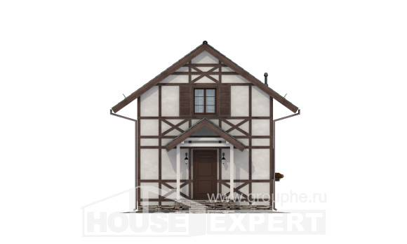060-002-R Two Story House Plans with mansard roof, economy Woodhouses Plans,