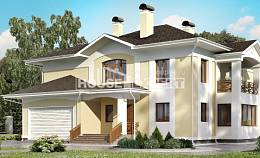 375-002-L Two Story House Plans with garage under, a huge Design Blueprints,