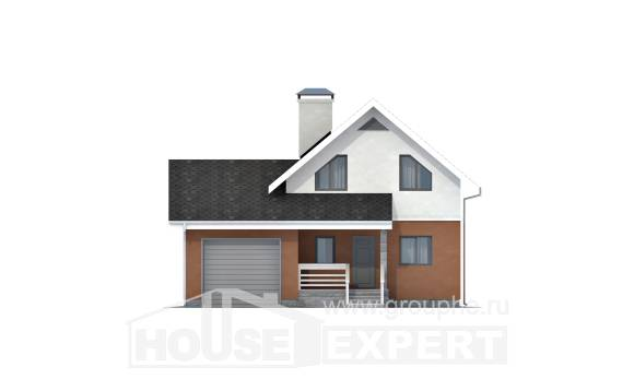 120-002-L Two Story House Plans with mansard roof with garage in back, inexpensive House Online,