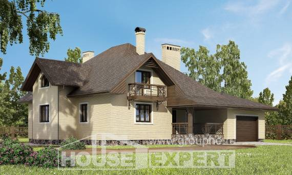 275-003-R Two Story House Plans and mansard with garage under, spacious Home Plans,