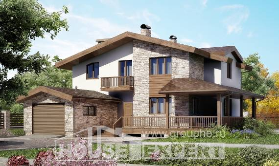 220-001-R Two Story House Plans and mansard with garage under, spacious Design House,