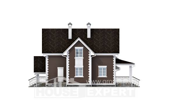 190-003-L Two Story House Plans with mansard roof with garage under, average Home Plans,