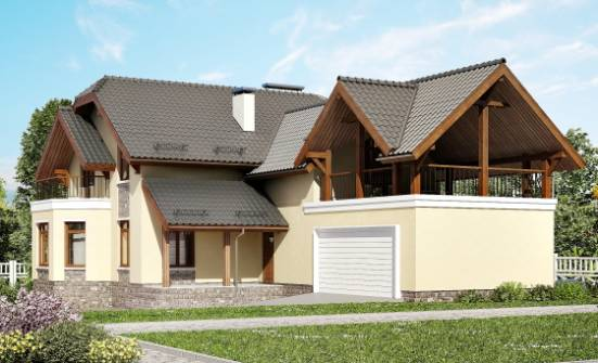 255-003-R Two Story House Plans and mansard and garage, spacious House Blueprints,