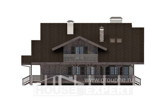 320-001-R Two Story House Plans with mansard with garage under, big Custom Home Plans Online,