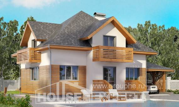 155-004-R Two Story House Plans with mansard roof with garage in back, available Dream Plan,