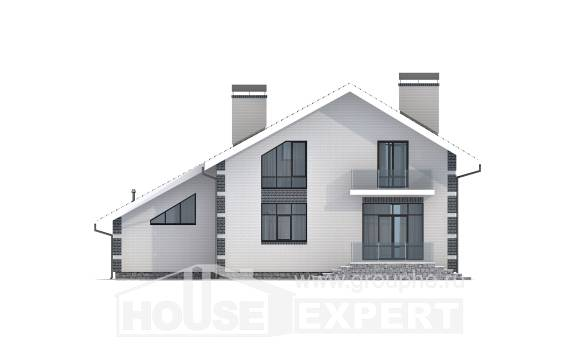 180-001-R Two Story House Plans with mansard with garage in back, classic House Blueprints,