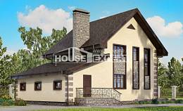 160-004-R Two Story House Plans with mansard with garage in back, cozy Custom Home,