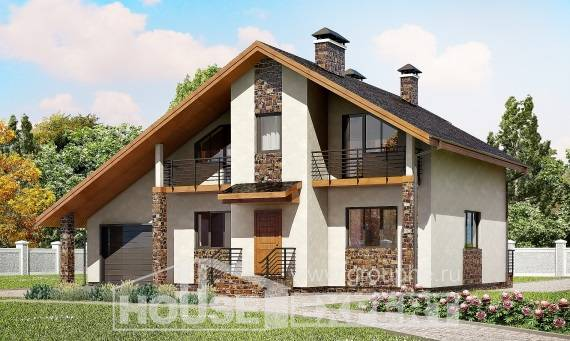 180-008-L Two Story House Plans and mansard with garage, a simple Blueprints of House Plans,