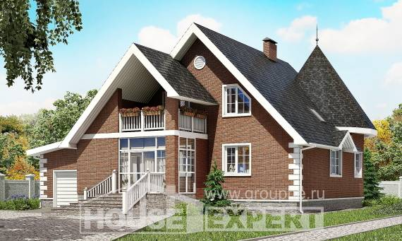 220-002-L Two Story House Plans with mansard with garage in back, spacious House Plans,
