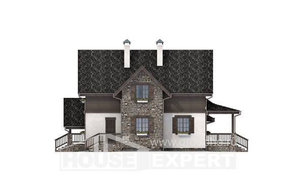 160-002-L Two Story House Plans and mansard with garage under, economical Architectural Plans,