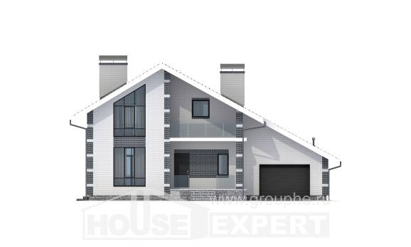 180-001-R Two Story House Plans with mansard with garage in back, best house Architects House,