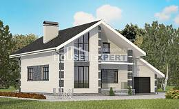 180-001-R Two Story House Plans with mansard roof with garage, inexpensive Architects House,