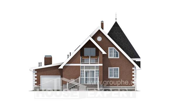 220-002-L Two Story House Plans with mansard roof and garage, luxury Dream Plan,