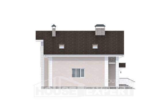 150-002-R Two Story House Plans with mansard with garage in front, cozy Construction Plans,