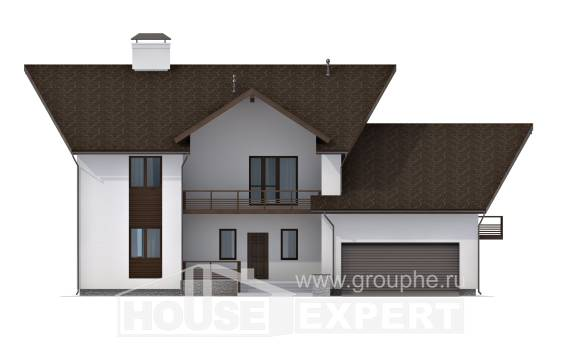 300-002-R Two Story House Plans with mansard roof with garage under, luxury Building Plan,