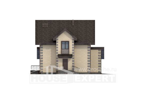 160-004-R Two Story House Plans and mansard with garage in front, cozy Ranch,