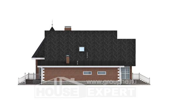 220-002-L Two Story House Plans and mansard with garage under, spacious Architectural Plans,