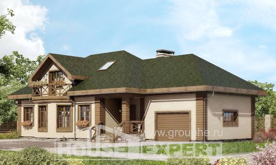 180-010-R Two Story House Plans and mansard with garage under, average Models Plans,