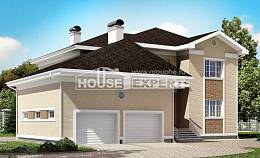 335-001-L Two Story House Plans with garage, classic Villa Plan,