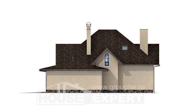 275-003-R Two Story House Plans with mansard with garage under, cozy Building Plan,