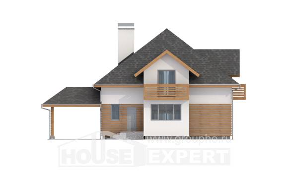 155-004-R Two Story House Plans with mansard and garage, modest Floor Plan,
