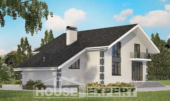 180-001-R Two Story House Plans and mansard with garage under, the budget Home House,