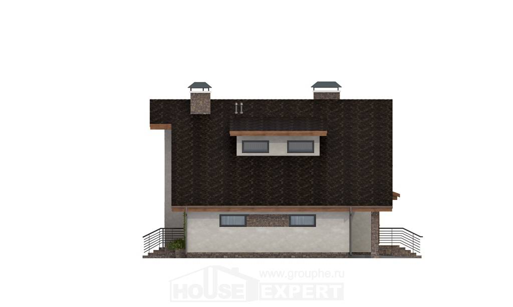 180-008-L Two Story House Plans with mansard roof with garage in front, average Timber Frame Houses Plans,