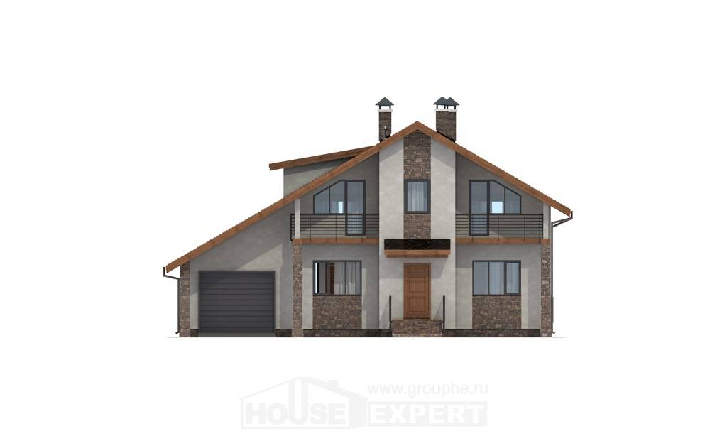 180-008-L Two Story House Plans with mansard with garage in back, classic Architects House,