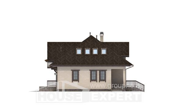 200-001-L Two Story House Plans with mansard roof with garage under, luxury Building Plan,