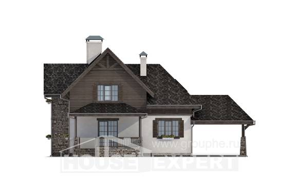 160-002-L Two Story House Plans and mansard with garage under, modest Design House,