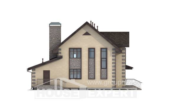 160-004-R Two Story House Plans with mansard with garage in back, cozy Tiny House Plans,
