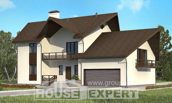 300-002-R Two Story House Plans with mansard with garage, a huge House Blueprints,