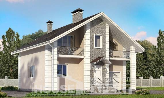 150-002-R Two Story House Plans with mansard with garage under, cozy Models Plans,