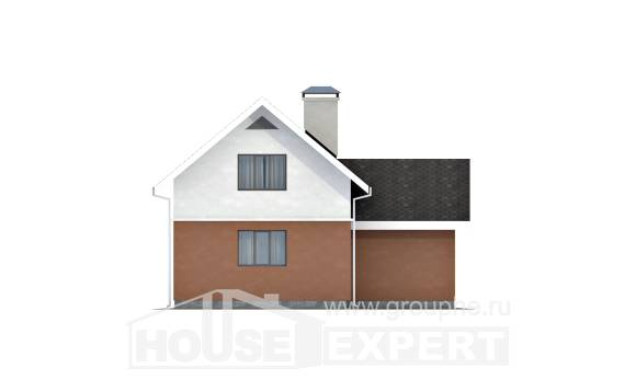 120-002-L Two Story House Plans with mansard and garage, modest Design Blueprints,