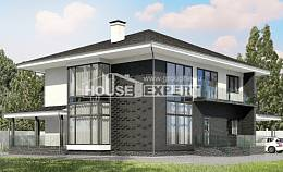 245-002-R Two Story House Plans with garage under, classic Building Plan,