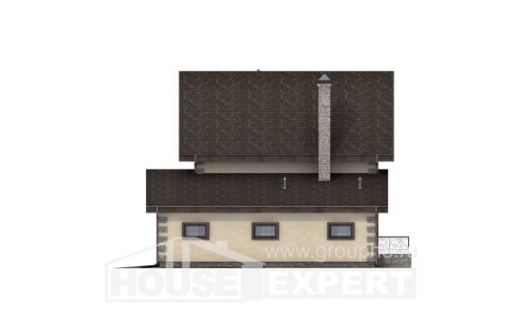 160-004-R Two Story House Plans with mansard roof with garage under, small Architect Plans,